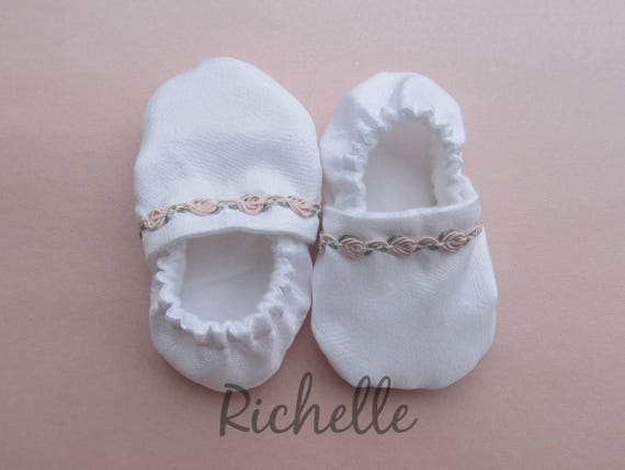 White Pink Baby Girl Shoes Baptism