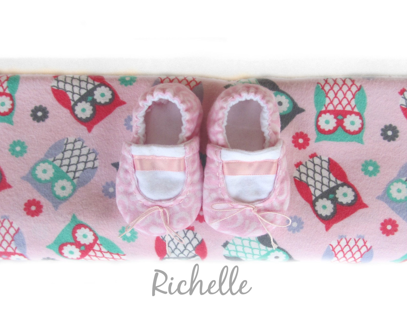 ballet baby shoes owl blanket gift set, pink slippers girl light weight swaddle girl newborn infant toddler soft sole crib booti