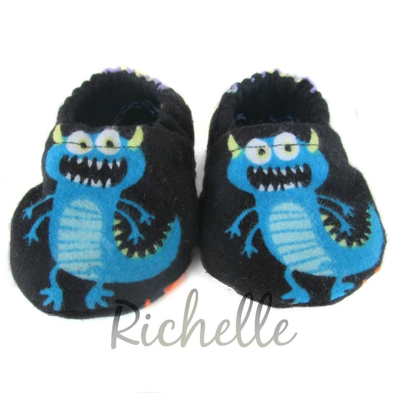 4d9b52652da Monster Baby Shoes Blue Black Slippers Newborn Soft Sole