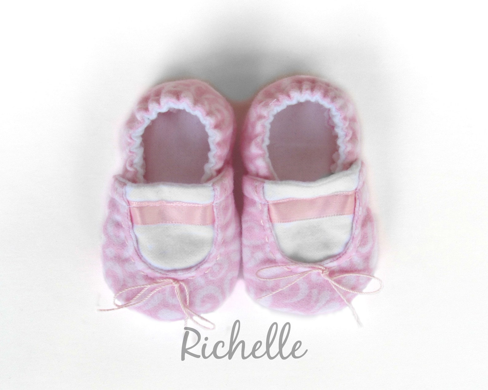 pink baby ballet slippers, infant toddler ballerina shoes, soft sole crib booties, handmade baby ballet flat, dance theme shower
