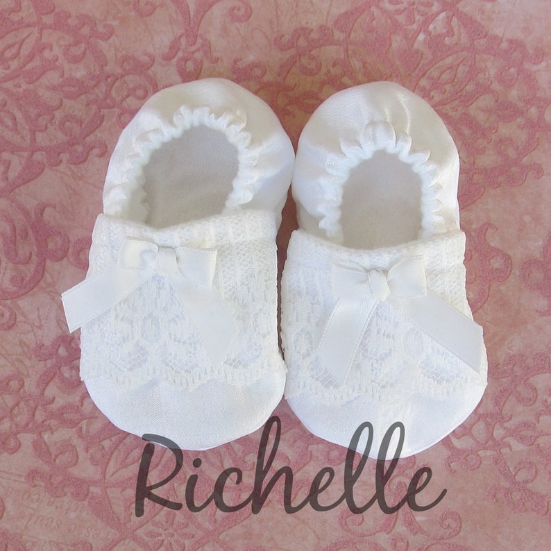 f58c9e7271dca White Lace Baby Girl Shoes Baptism, Blessing, Christening Outfit Special  Occasion Wedding Dressy Ribbon Soft Sole Crib Shoes, Infant Toddler