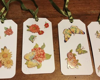 DreamscapesByCyn--Handmade XL OOAK butterfly and flower tags