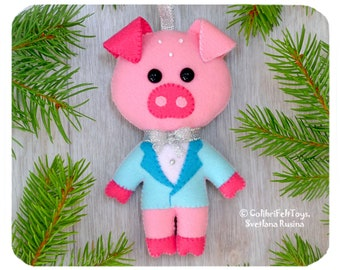 pig cute felt christmas ornaments christmas tree toy christmas decorations pig ornament christmas pig in a gift box christmas gifts favors