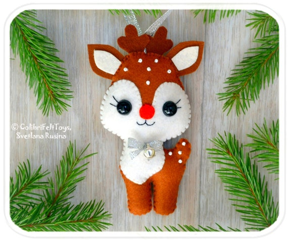 Rudolph Christmas Decorations.Reindeer Rudolph Felt Christmas Ornaments Cute Christmas Deer In A Gift Box Christmas Tree Toy Rudolph Christmas Decorations Christmas Gifts