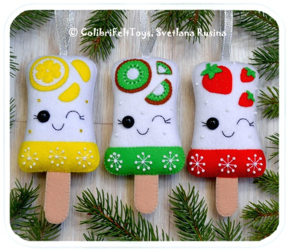 Christmas Tree Toys Decoration.Ice Cream Cute Felt Christmas Ornaments Ice Cream In A Gift Box Christmas Tree Toy Xmas Ice Cream Christmas Decorations Christmas Gifts