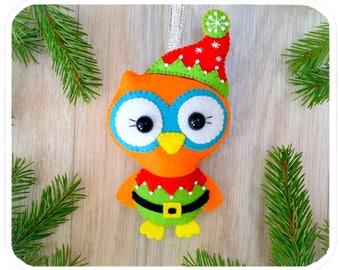 Christmas ornaments Cute felt Christmas Owl Santa's helper Christmas decorations Christmas tree toy Owl Handmade felt Owl Christmas gifts