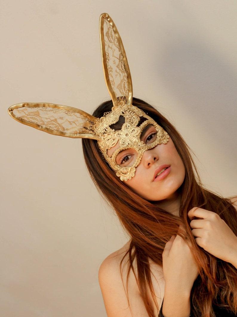 Lace Bunny Mask Lace Mask Rabbit Mask Masquerade Mask Gold  b75d7d10096e
