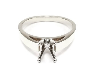 e4832c09b 14k White Gold Solitaire Engagement Ring Setting (6 Prong & 4 prong) /  Cathedral Style Ring Mounting / Semi Mount for Round Stones