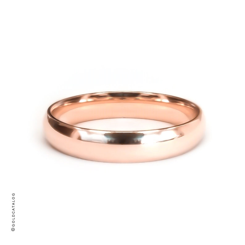 14k Solid Rose Gold Band  4MM  Plain Polished Half Round Dome Comfort fit  Mens Womens Wedding Ring  Simple Rings
