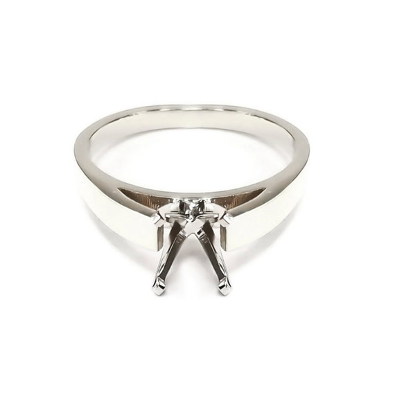 14K White Gold Round Engagement Solitaire Ring 6 Prong Mounting Solid Setting