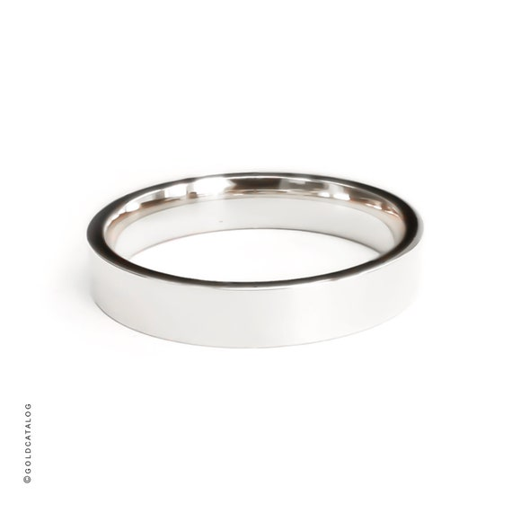Solid 14K White Gold Wedding Band Shiny Flat Comfort Fit Ring