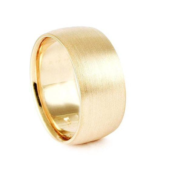 62a73c85df3 Extra Large 14k Yellow Gold Band Heavy    Brushed 10mm 11mm