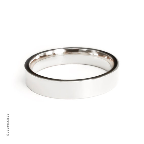 5MM 14k White Gold Band  Plain Flat High Polished Comfort Fit Wedding Bands Rings  His /& Hers  14k Solid Gold Ring