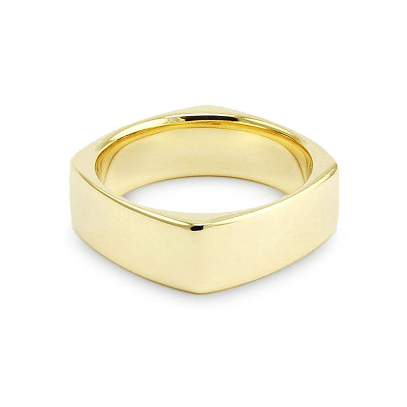 00354a49a39 7mm 14k Yellow Gold Band    Square Euro Comfort Fit Wedding