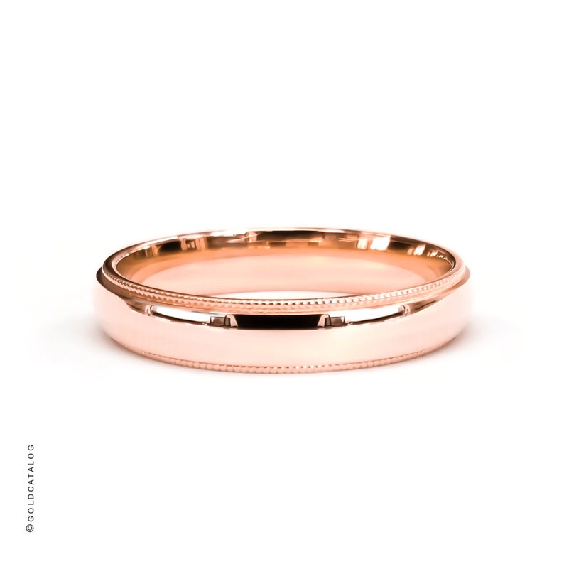 Comfort Fit   Womens Mens Wedding Band Ring  Plain Solid Gold Ring  His /& Hers Dome 3mm 14k Rose Gold Band Milgrain Edge Polished