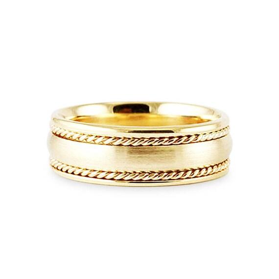 182a99d6fe9 8mm 14k Yellow Gold Band    Brush Satin Finish Gold Wedding