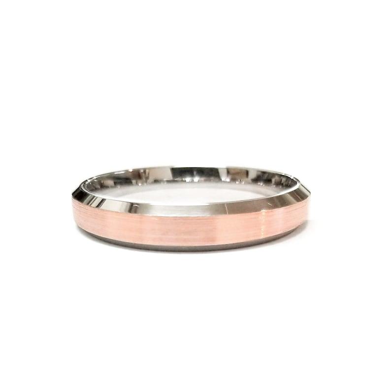2-Tone Gold Wedding Bands Beveled Edge Matte  14K White /& Rose Gold Comfort Fit Ring Mens Women  3MM 4MM 5MM WIDE 6MM 7MM Brush Finish