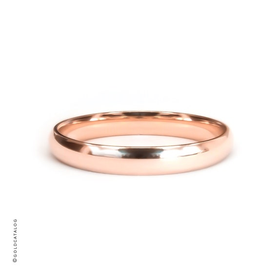 Polished Rounded Dome 3mm Men/'s Women/'s Wedding Ring Pink Simple   PLAIN 14k Rose Gold Band Comfort Fit