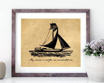 Printable Dante Alighieri Quote | Uncharted Sea | Nautical Art | Literary Quote | Instant Download | Literary Art Dante's Inferno | Divine