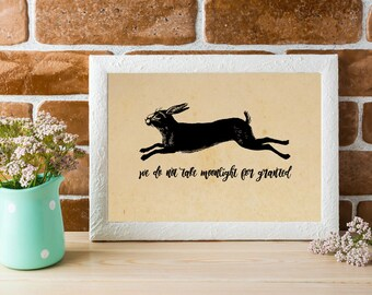 Printable Watership Down Quote | Take Moonlight for Granted | Literary Quote | Instant Download | Literary Art | Richard Adams | Rabbit Art