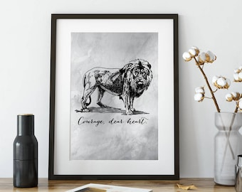 Printable Narnia Quote | CS Lewis | Courage Dear Heart | Literary Quote | Instant Download | Literary Art | Aslan | Lion | Fantasy