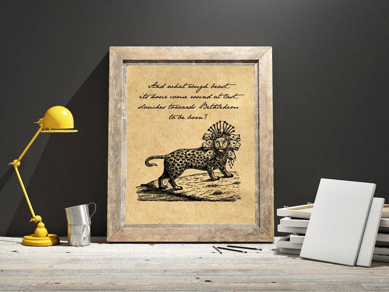 Rough Beast Slouching Update >> Printable William Butler Yeats Quote Second Coming Etsy