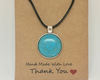 Turquoise Pendant Leather Wax Rope Necklace