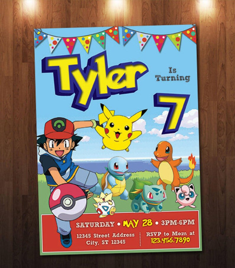 Pokemon Birthday Invitation Pikachu Ash Custom Personalized Printable Digital