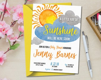 Sunshine Baby Shower Invitation, Sun Baby Shower Invitation, Ray Of Sunshine Invitation, Sun Invitation, Personalized Digital Printable
