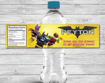 Lego Batman Water Bottle Label, Lego Batman Label, Batman Bottle Label, Personalized Digital Printable Lego Batman Water Bottle Label
