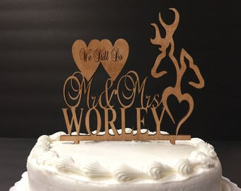 Personalized Mr and Mrs Deer Heart Cake Topper