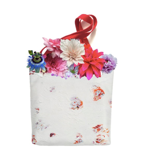 8d2390418c92 Hanami Red Tote bag. Japanese Inspired Floral Art. Unique Gift