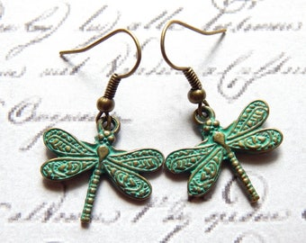 Dragonfly Earrings - Verdigris Patina Brass Ox Dragonfly Earrings - Nature Jewelry - Charm Earrings