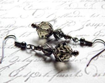 Smoky Grey Earrings - Grey Crystal Glass Earrings - Victorian Style Earrings - Vintage Style Earrings