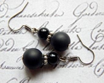 Black Onyx Earrings - Beaded Gemstone Earrings - Small Drop Earrings