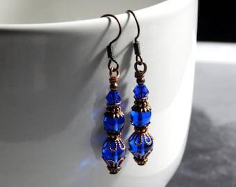 Sapphire Blue Czech Glass Victorian Style Earrings - Antique Copper Earrings