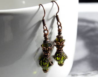 Forest Green Faceted Glass Victorian Style Earrings - Antique Copper Earrings