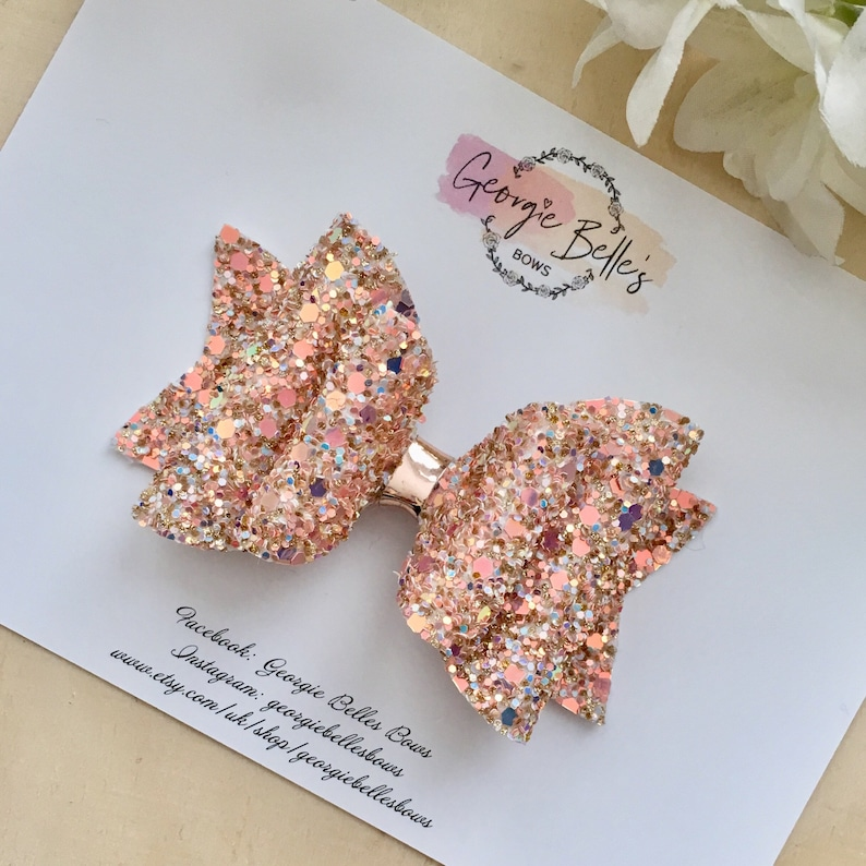 Pink Flower Glitter Large  Double Hair Bow
