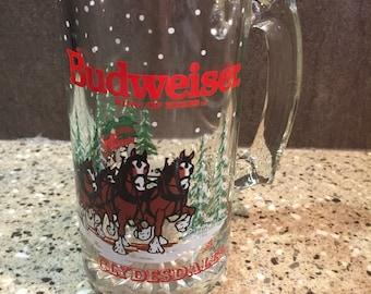 Budwiser Clydesdales Strin 1989 Anheuser Bush Glass Mug