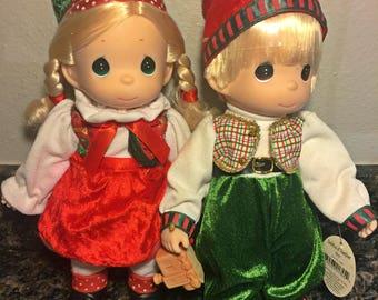 Precious Moments Santa's Helper Boy & Girl