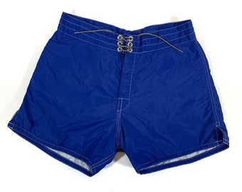 6bd8f3a9a1 Vintage Birdwell Beach Britches Blue Swim Trunks Board Shorts // Size 30 //  Made in USA