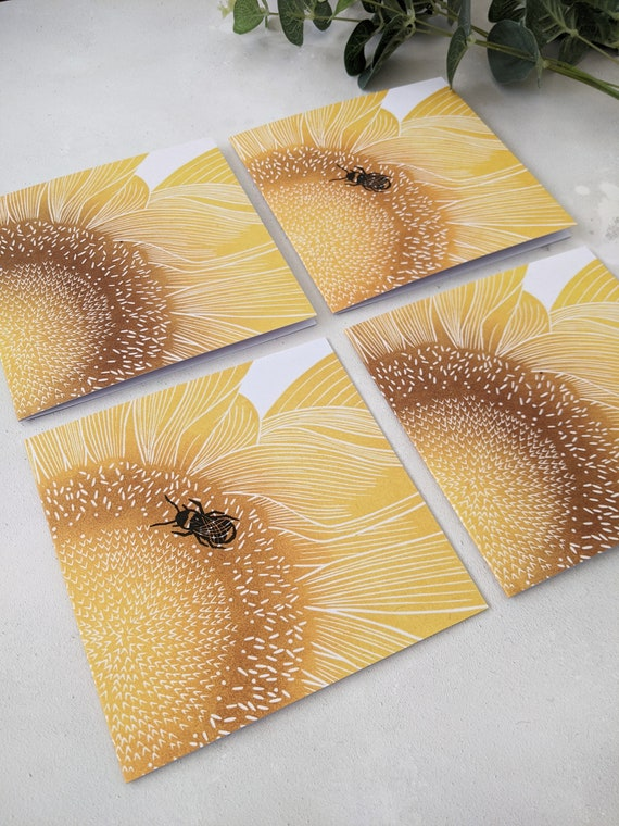 Sunflower and Bee Greetings Cards, Note Card Pack, Pack of 4 Cards