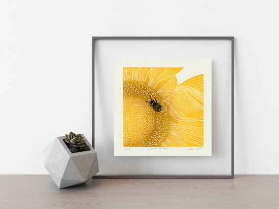 Sunflower and Bee Linocut Print, Sunflower Botanical Art Print, Hand Carved Limited Edition Print.