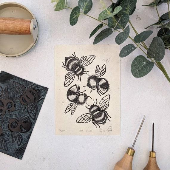 Bee Linocut Print, Bumblebee Print, Limited Edition Original Bee Art