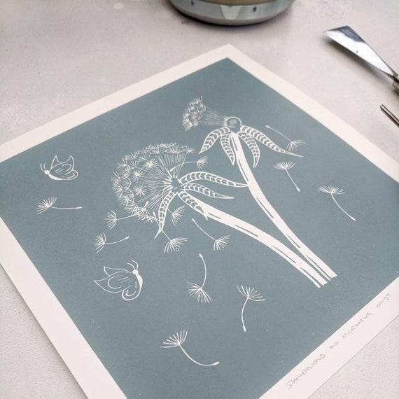 Dandelions and Moths Original Limited Edition Linocut Print - Botanical Art Print - Nature Lover Gift