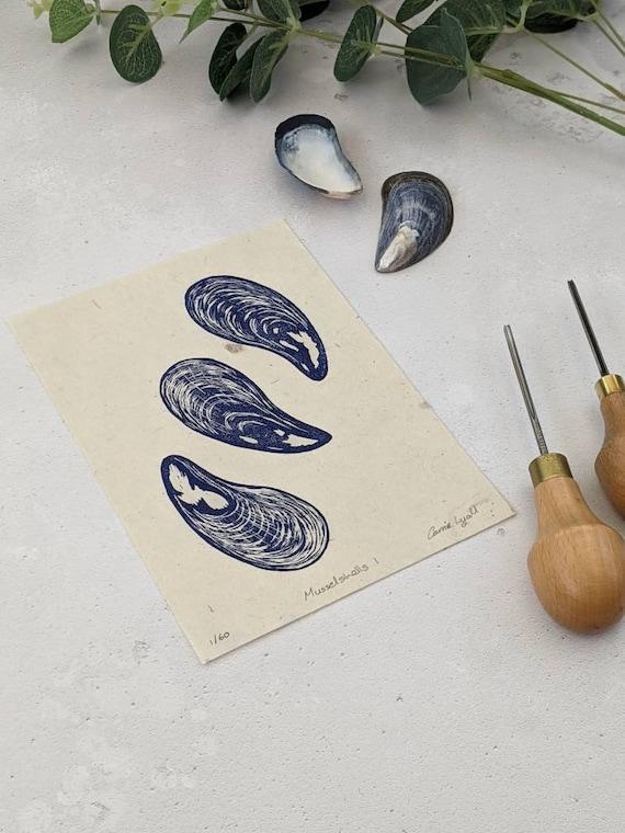 Mussel Shell Linocut Print, Seashell Print, Wall Decor, Limited Edition Linocut Print