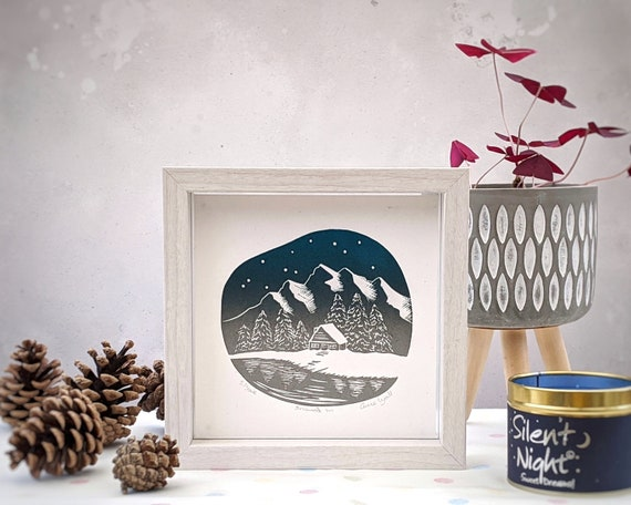 Cabin in the Woods Linocut print, Snow capped Mountains, Winter scene