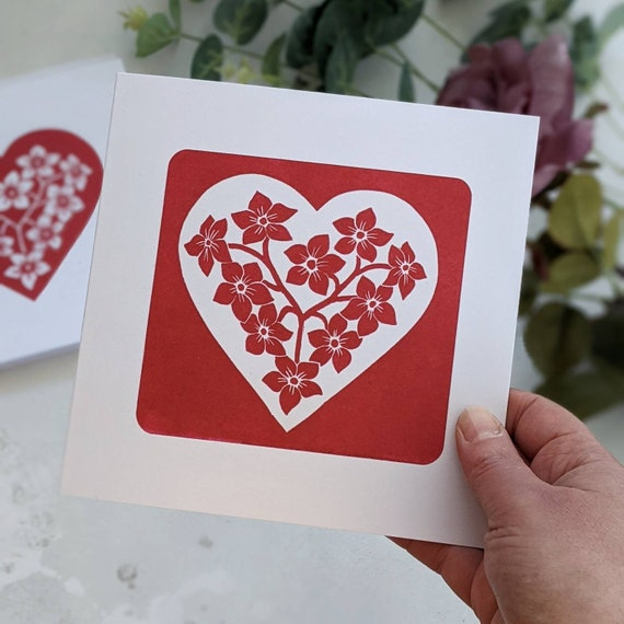 Forget Me Not Heart Valentine Card, White Heart with Red Flowers