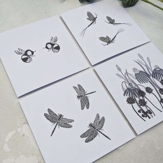 Insect and Meadow Flower Cards, Pack of 4 Greetings Cards, Note Cards
