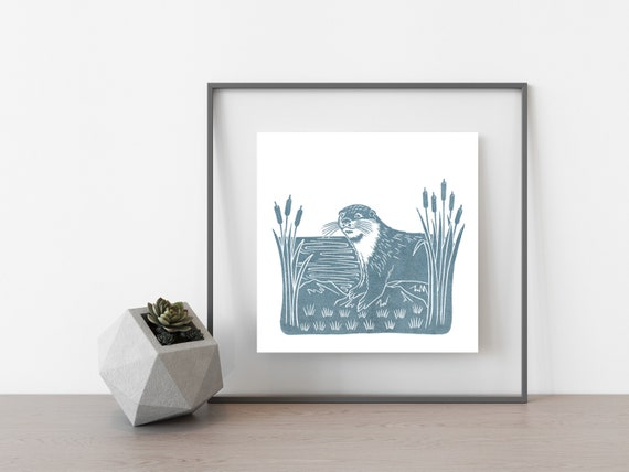 Otter Print, Limited Edition Linocut Print, British Wildlife Art
